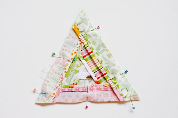Triangular Log Cabin Pincushion - 15